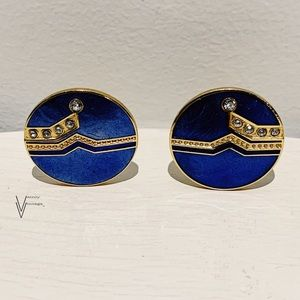 Vintage 80s Art Deco Round Clip On Earrings